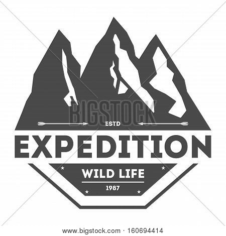 Mountain explorer vintage isolated label vector illustration. Mountain expeditions icon. Wild life concept. Adventure outdoor resort and hiking logo. Mountain logo vector template. Mountain sign or mountain icon isolated. Outdoor logo badge.