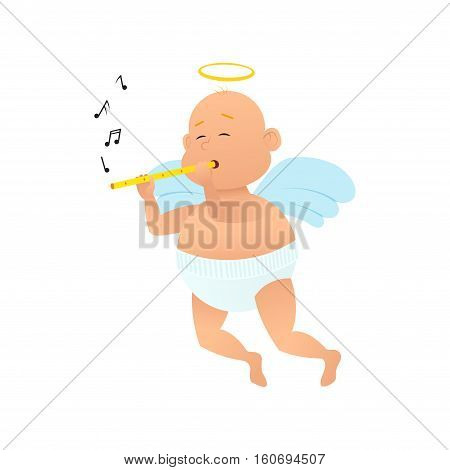 Cartoon cupid plays on a musical tubule. Character mascot of Valentine's Day isolated on white background. Vector illustration.