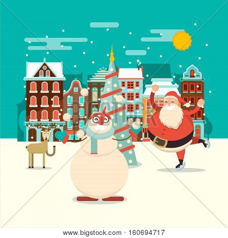Christmas village joy scene with cartoon santa claus snowman and reindeer. Vector xmas holiday greeting card layout design. Celebration background with belgium or dutch houses.