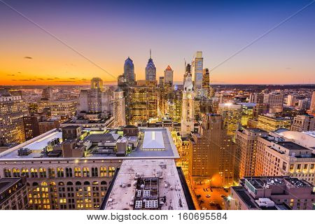 Philadelphia, Pennyslvania, USA downtown city skyline.