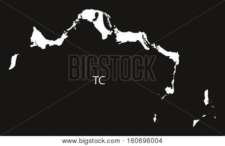 Turks And Caicos Islands Map Black And White Illustration