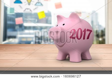 Digital image of new year 2017 against adhesive notes on window