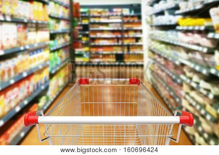 Shopping cart with trolley in department store. 3D illustration