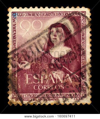 SPAIN, CIRCA 1952: stamp printed in Spain shows portrait Saint Maria Micaela Desmaisieres (1809-1865), founder of the Handmaids of the Blessed Sacrament and of Charity, circa 1952