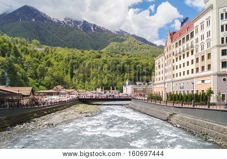 Sochi, Russia - 8 May, Embankment at the hotel Radisson, 8 May, 2016. Olympic village Roza Khutor.