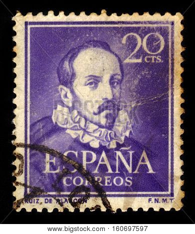SPAIN, CIRCA 1950: stamp printed in Spain , showing portrait Juan Ruiz de Alarcon y Mendoza (1580 - 1639). Playwright is one of the leading figures of Spanish theater of Golden Age, circa 1950