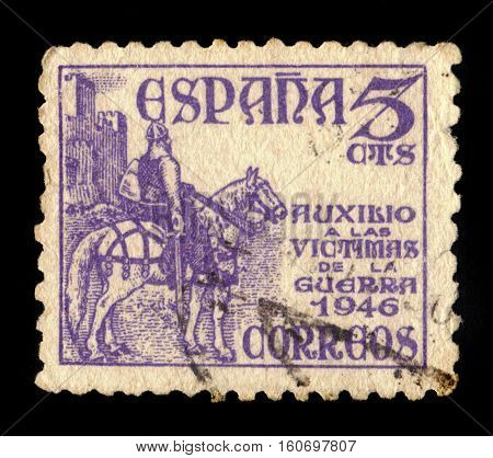 SPAIN, CIRCA 1949: stamp printed in Spain shows El Cid ( Rodrigo Diaz de Vivar ), was a castilian nobleman and military leader in medieval Spain on horseback by Marceliano Santamaria, circa 1949