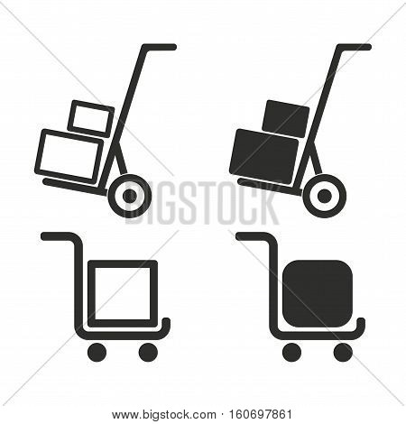 Handcart vector icons set. Illustration isolated for graphic and web design.