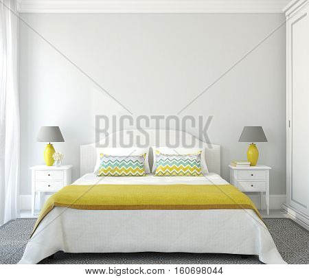 Interior of bedroom with king-size bed. 3d render.
