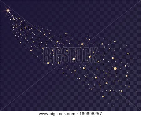 Gold stars glittering trail of Santas sleigh. Tail of comet on transparent background in dark sky. Illustration in vector format