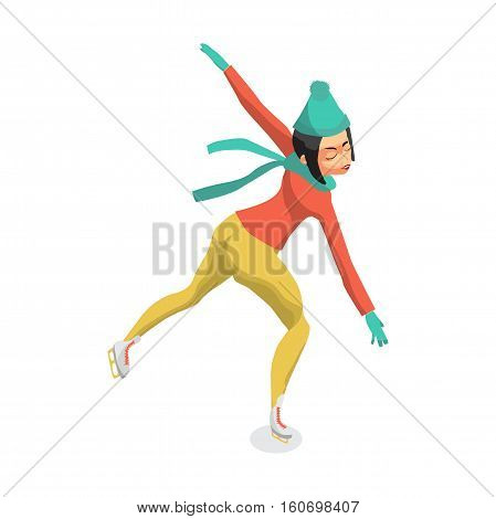 Winter sports. Cartoon skating woman training. Girl makes a difficult turn. Flat vector illustration isolated on white background