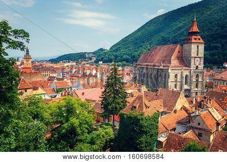 Aerial view of the Old Town Brasov Transylvania Romania