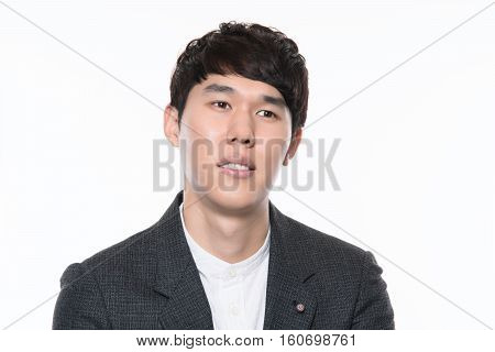 30s asian male youth businessman studio portrait - isolated