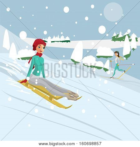Pretty young woman riding a snow sled riding a snow sled from a hill in the forest on a cloudy day. Flat cartoon vector illustration