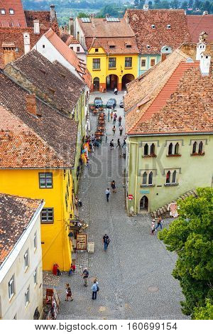 Sighisoara, Romania - July 17: Aerial View Of Old Town In Sighisoara, Major Tourist Attraction On Ju