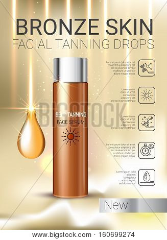 Tanning facial serum ads. Vector Illustration with self tanning concentrate bottle.