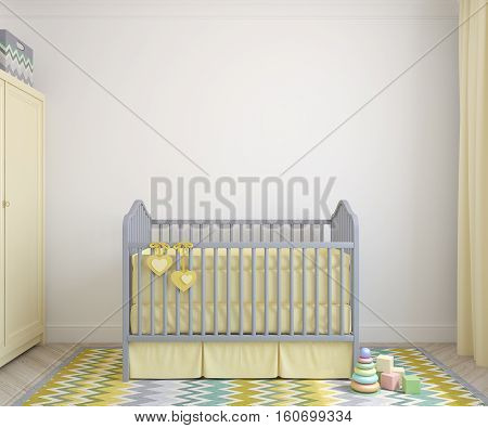 Colorful interior of nursery with crib. Frontal view. 3d render.