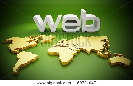White web word on Earth map. 3D illustration.