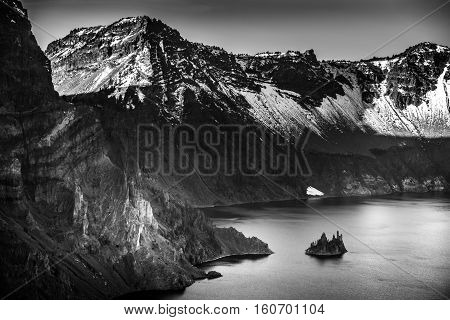 Phantom Ship Island Crater Lake Black And White Photography
