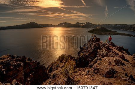 Girl Looking At Wizard Island Merriam Point Overlook Oregon