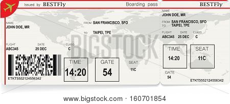 Vector illustration of pattern of a boarding pass or air ticket