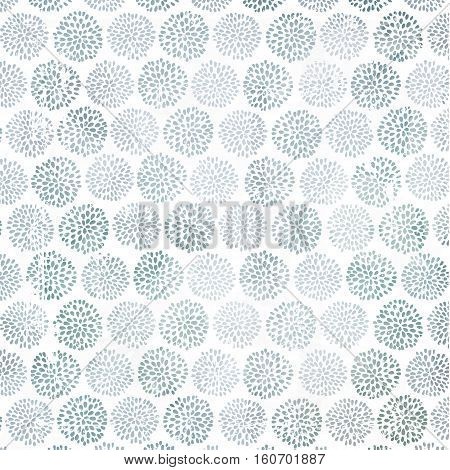 Vector floral pattern with beautiful blue, lilac circle flowers, made of petals. White background with old scratched texture, dirt and spots.