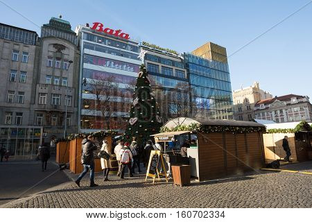 Peoples On The Famous Advent Christmas Market At Wenceslas Square