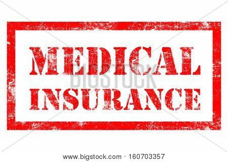 Medical Insurance rubber stamp in red ink with white background