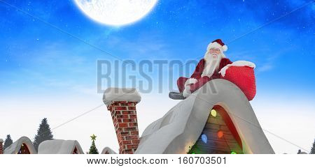 Santa sits next to his bag against winter snow scene