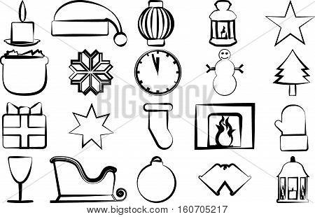 Drawn icons with Christmas paraphernalia on a white background