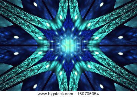 Abstract Symmetrical Floral Ornament On Black Background. Fantasy Fractal Design In Blue Colors. Dig