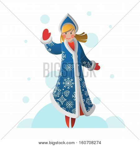 New Year greeting card with cartoon Snow Maiden. Christmas gift card with Snow girl. Winter holiday Xmas postcard with Snegurochka. Vector illustration art.