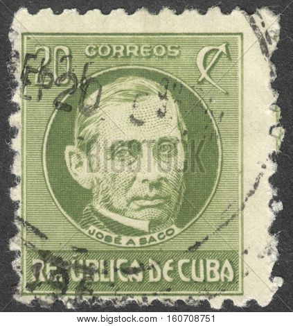 MOSCOW RUSSIA - CIRCA NOVEMBER 2016: a post stamp printed in CUBA shows a portrait of J. Saco the series