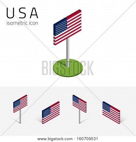 American flag (United States of America) vector set of isometric flat icons 3D style different views. 100% editable design elements for banner website presentation infographic poster map collage. Eps 10