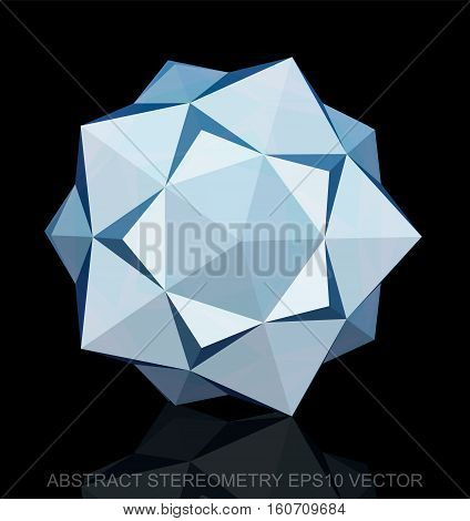 Abstract stereometry: low poly White Dodecahedron. 3D polygonal object, EPS 10, vector illustration.