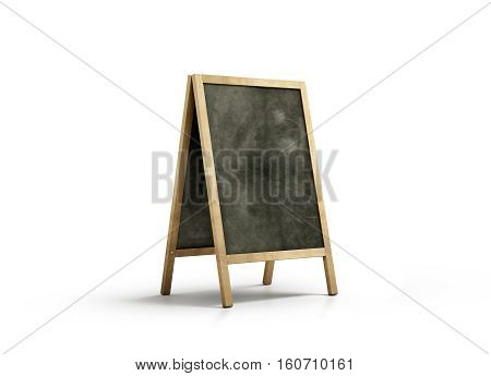 Blank chalk board street stand mockup isolated 3d rendering. Clear outdoor signage with blackboard mock up. A-board with wooden frame template. Cafe or restaurant welcome easel. Pavement menu rack