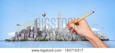 Urban skyline. Hand with pencil in process of drawing city horizon on a sky background. Сity planning. 3d illustration