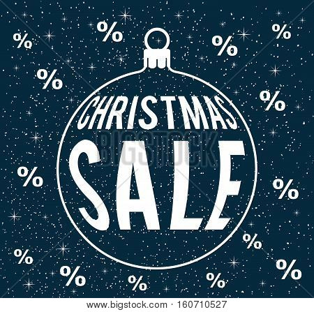 christmas sale vector on snowy dark blue background with percentage signs with christmas ball silhouette sale poster