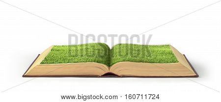Open book covered grass isolated on a white background