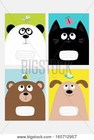 Notebook cover Composition book template set. Baby cat panda dog bear kitty head. Butterfly dragonfly bee mosquito insect Cute cartoon character. Flat design. Colorful background. Vector
