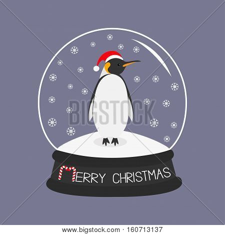King Penguin Emperor in red santa hat. Cute cartoon character. Arctic animal collection. Baby bird. Crystal ball with snow. Merry Christmas card Candy cane text. Flat design Violet background. Vector