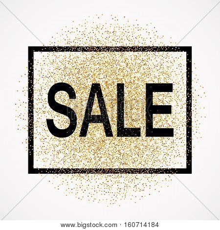 Sale promotion tag. Discount promo label. New Year, Christmas offer. Golden glitter template for shop banner, poster, certificate. Gold glittering vector flares on white background.