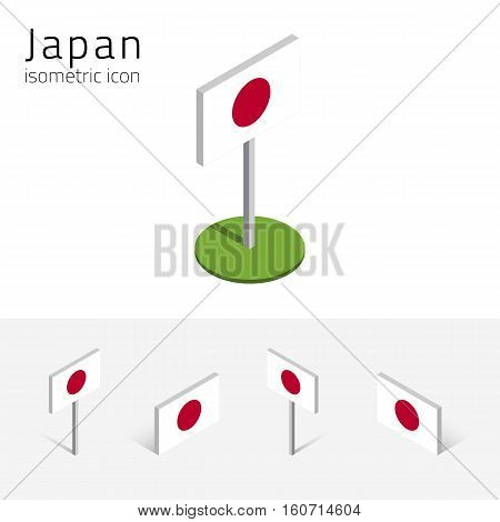 Japanese flag (State of Japan) vector set of isometric flat icons 3D style different views. 100% editable design elements for banner website presentation infographic poster map. Eps 10
