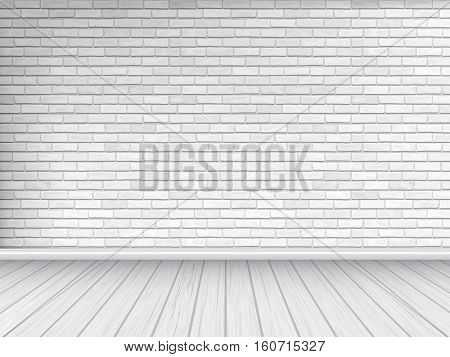 White brick wall and wooden floor architectural background. Vector illustration of interior.
