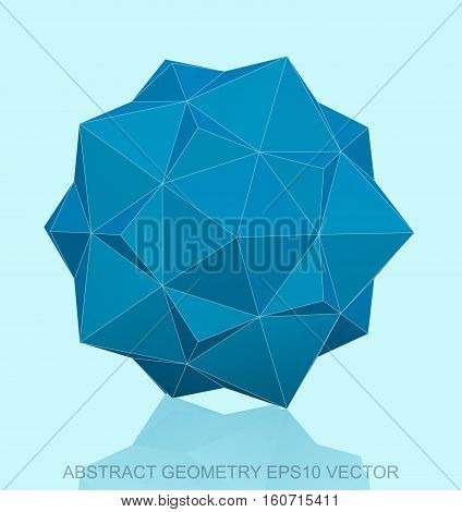 Abstract geometry: low poly Blue Dodecahedron. 3D polygonal object, EPS 10, vector illustration.