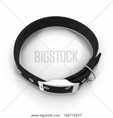 Dogs collar on white background. Black color. 3D illustration