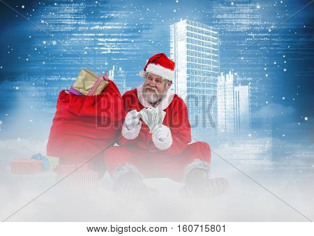 Happy santa counting currency notes against digitally 3D generated city background