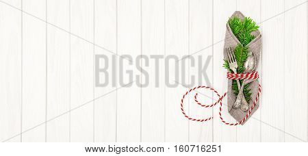 Christmas background. Festive decoration with christmas tree brunches. Holidays banner