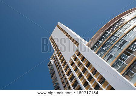 building exterior - apartment building facade, blue sky