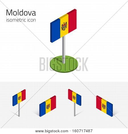 Moldavian flag (Republic of Moldova) vector set of isometric flat icons 3D style different views. 100% editable design elements for banner website presentation infographic poster map. Eps 10